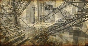 Post. Modern industrieel binnenland, treden, schone ruimte in indu Stock Afbeelding