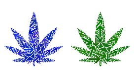 Post Motion Collage Cannabis Icons royalty free illustration