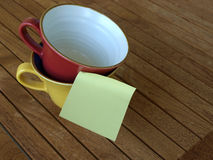 Post-it and mug Stock Photography