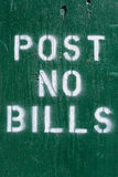 Post no Bills. A temporary wall with the text post no bills Royalty Free Stock Images