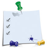Post-It Note. With green, blue and yellow Pin Stock Image