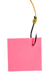 Post it note. On fishing hook isolated on white background Stock Photos