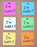 Post it note collage with i'm sorry. Message stock photos