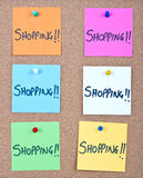 Post it note collage with shopping Stock Images