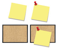 POST IT NOTE AND CORKBOARD SET. Set of post it note with or whithout red pin, isolated and attached to a corkboard Stock Photography