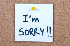 Post it note with i'm sorry Royalty Free Stock Image