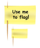 Post-it note like flag. Set of yellow post-it notes on toothpicks like flag. Vector illustration vector illustration