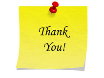 Post it note with message thank you. Yellow post it note stuck up with red pin and with text Royalty Free Stock Photo
