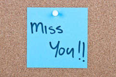 Post it note with miss you Royalty Free Stock Image