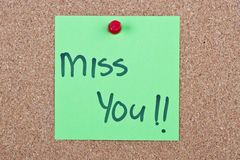 Post it note with miss you Stock Photos