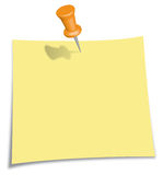 Post-It Note with orange Pin. Yellow Post-It Note with orange Push Pin Isolated on White Royalty Free Stock Photography
