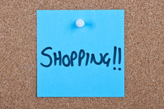 Post it note orange with shopping Royalty Free Stock Photo