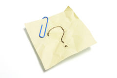 Post It Note Paper with Question Mark Royalty Free Stock Images