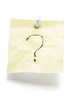 Post It Note Paper with  Question Mark Stock Images