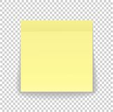 Post note paper sheet or sticky sticker with shadow isolated on. A transparent background. Vector yellow post office memo or remember notepaper for your design Stock Photos