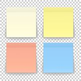 Post note paper sheet or sticky sticker with shadow isolated on. A transparent background. Vector yellow post office memo or remember notepaper for your design Royalty Free Stock Photography