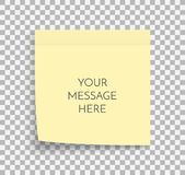 Post note paper sheet. Sticky sticker. Vector office memo template. Blank yellow square adhesive sticker mock up. Post note paper sheet. Sticky sticker. Vector stock illustration