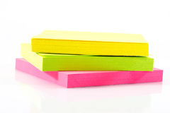 Post-it note paper. Yellow, green, pink Post-it note paper Royalty Free Stock Photography
