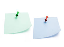 Post It Note Papers with Pushpin Stock Images