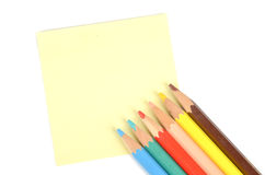 Post-it note and pencil Royalty Free Stock Images