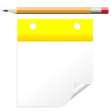 Post it note with pencil. Isolated over white Stock Photos