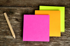 Post it note and pencil. Ready to use Royalty Free Stock Photo