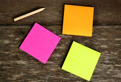 Post it note and pencil Royalty Free Stock Image