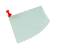 Post-it note with red pin. Blank Post-it note stuck with a red pin isolated on a white background Royalty Free Stock Photos
