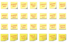 POST-IT NOTE Set different SALES. 4 different post-it notes with different sales textes on it Stock Image