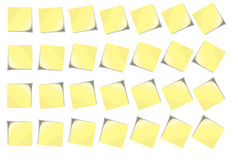 POST-IT NOTE Set 1. 28 post-it notes light yellow in different angles blank with no text on it. Isolated on white background Stock Images