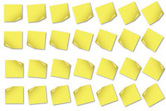 POST-IT NOTE Set 3. 28 post-it notes light yellow in different angles blank with no text on it. Isolated on white background Royalty Free Stock Photo