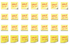 POST-IT NOTE Set Sale 5-35 %. 4 different post-it notes with sales percentage  5 to 35% off Royalty Free Stock Images