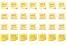 POST-IT NOTE Set Sale 40-70 %. 4 different post-it notes with sales percentage 40% to 70% off Stock Illustration