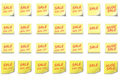 POST-IT NOTE Set Sale 75-95 %. 4 different post-it notes with sales percentage 75% to 95% off Royalty Free Illustration