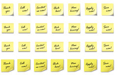 POST-IT NOTE Set 4 with text. 4 different post-it notes with 7 different text on it Stock Photography