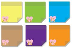 Cute sticky note or post it valentine days paper sheet 2. A Post-it note or sticky note is a small piece of paper with a re-adherable strip of glue on its back Royalty Free Stock Photos