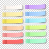 Post note sticky stickers with peel off corner isolated on a tra. Nsparent background. Paper adhesive tape with shadow. Vector office color post stickers for Royalty Free Stock Image