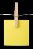 Post it note on a string. Post it note on hanging on a string Stock Photos