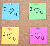 Post it note on wood collage. Post it notes on wood collage with I love you Stock Photos