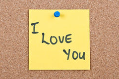 Post it note on wood Stock Image