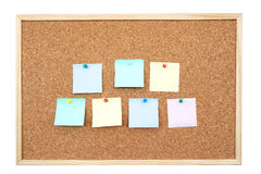 Post-it notes. Seven colorful blank post-it notes affixed to the corkboard - isolated on white Royalty Free Stock Photography