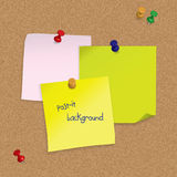 Post-it notes with 3D pushpins on cork board. Illustration of post-it notes with 3D pushpins on cork board Stock Images