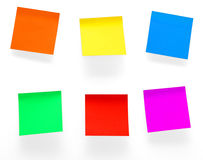 Post it notes. A different color post it notes isolated with clipping path. Studio light. Natural shade Royalty Free Stock Photos