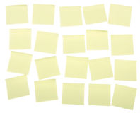 Post it notes. Yellow post it notes on a white background, put your own text on them Stock Photography
