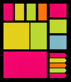 Post It Notes on Black stock image