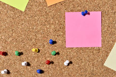 Post-it notes. Colorful post it notes on a board Royalty Free Stock Images