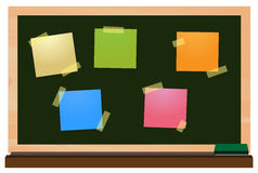 Post-it notes colorful on chalkboard Royalty Free Stock Photo