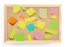 Post it notes on Cork board. Cork board full with colorful notes Royalty Free Stock Photography