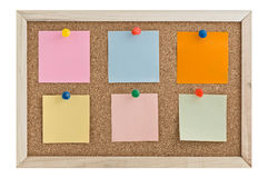 Post it notes on a cork board Royalty Free Stock Photo