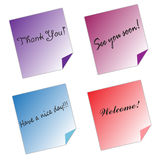Post it Notes messages color paper white background Royalty Free Stock Photography